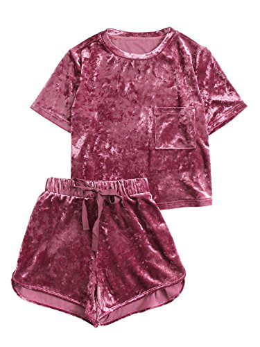 MakeMeChic Women's Vintage Velvet Pocket Crop Top Tee T-Shirt and Shorts Set Red XS - Shirt Big Velvet