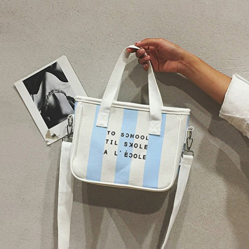 Casual Wind Mini Bag de Stripes Shoulder BISSER Girl Blue para Bolso ISN Orange Bag Literary Bisser Hembra stripes Messenger niña College Lona Fresh de pFpwPq6Ox