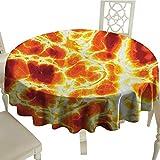 "longbuyer Burnt Orange Printed Tablecloth Hot Burning Lava Texture Bursting Fire Flames Volcanic Heated Magma Image Diameter 54"",Suitable for Kitchen, dustproof Desktop Decoration"