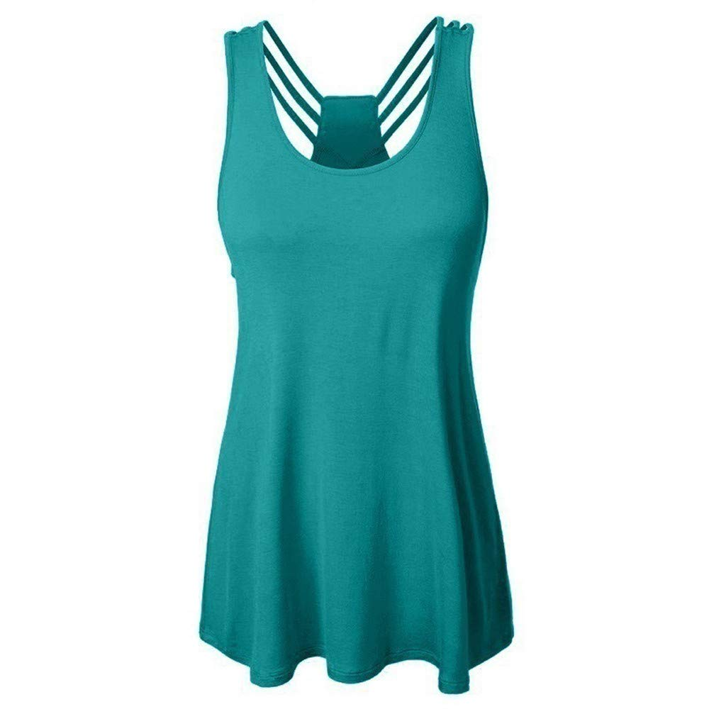 iLUGU Women Bandages Sleeveless Top Vest Tactical High Low Tanks Cami Notes Strappy Racer Back Mint Green