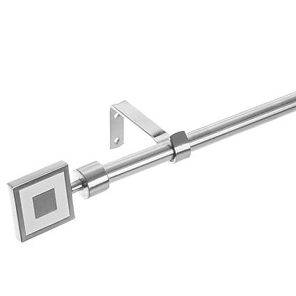 Barra de Cortina Extensible nórdica Plateada de Acero para salón de 160-300 cm Fantasy