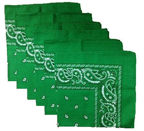 6 Color Pack Paisley Bandana Scarf, Head Wraps (Green Bandana)