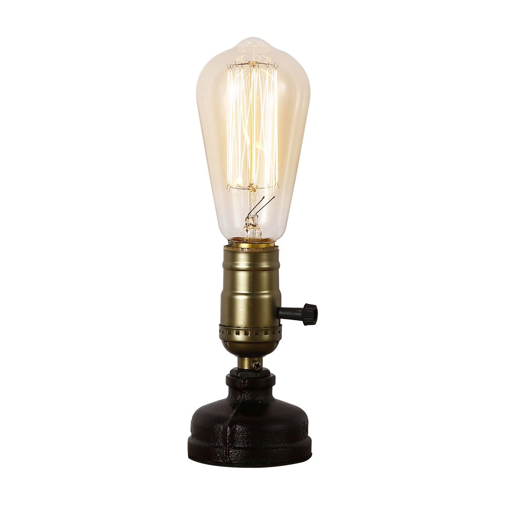 Ij injuicy retro loft rustic vintage industrial steampunk wrought iron edison bulb table lights e27 led water pipe desk lamps bedside living room