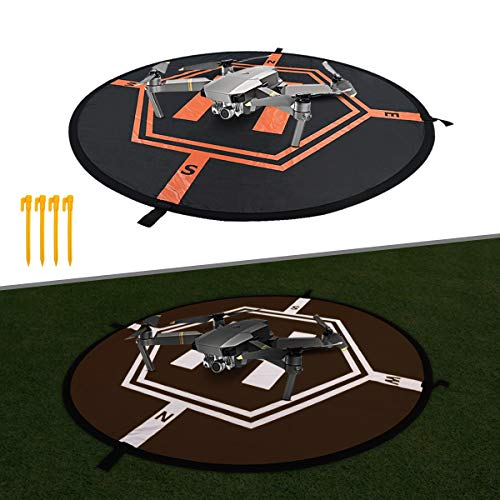 Drone Landing Pad, 30 Universal Waterproof Landing Pads with Reflect Strap Fast Fold Drone Helipad for RC Drones Helicopter, PVB Drones, DJI Spark DJI Mavic 2/Pro Phantom 2/3/4/ Pro Drone Accessories