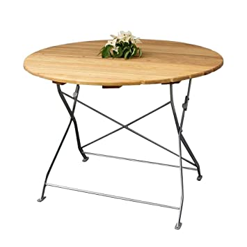 Table de jardin ronde en Robinier massif pliable Pharao24: Amazon.fr ...