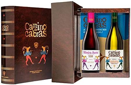 CAMINO DE CABRAS Estuche de vino – Godello D.O. Valdeorras Vino blanco + Mencía D.O. Ribeira Sacra Vino tinto –Producto Gourmet - Vino para regalar - 2 botellas x 750 ml.