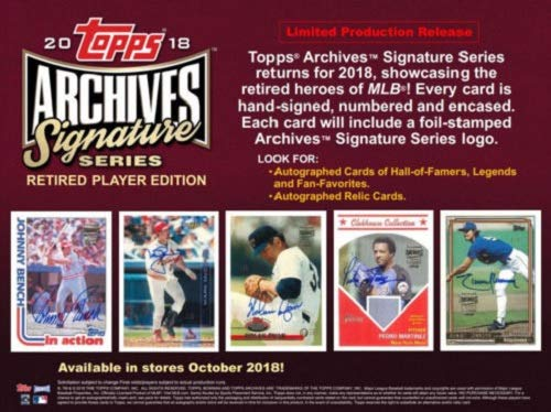 Autographed Baseball Box - 2018 Topps Archives Signature Series Baseball Retired Edition Hobby Box Pack - 1 Autographed Card!