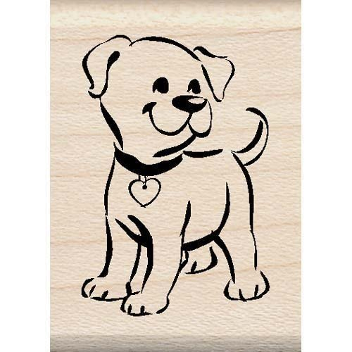 Love Mounted Rubber Stamp - Puppy Wood Mounted Rubber Stamp