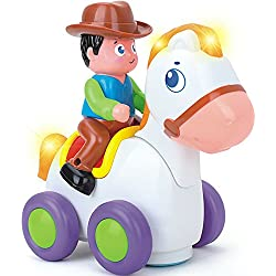 Pull Back Car Cowboy Bronco - Interactive and Educational Toy for Kids - Rodeo Horse Toys for Children and Bebies with Music Sounds - Animated Figures to Encourage Imagination - Learn by Playing