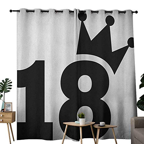 (NUOMANAN Thermal Insulated Blackout Curtain 18th Birthday,Cartoon Soccer Jersey Seem Bold 18 Number Party Sports Playing Art Print, Black and White,Blackout Draperies for Bedroom Living Room)