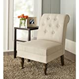 Solid Wood Legs Colette Tufted Classic Accent Chair in Tan