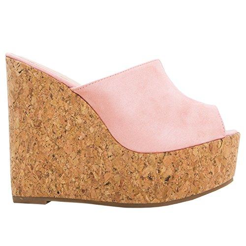 Meilidress Womens Espadrille Wedge Heels Slip On Platform Slides Cork Peep Toe Suede Mules Sandals (Slides Platform Cork)