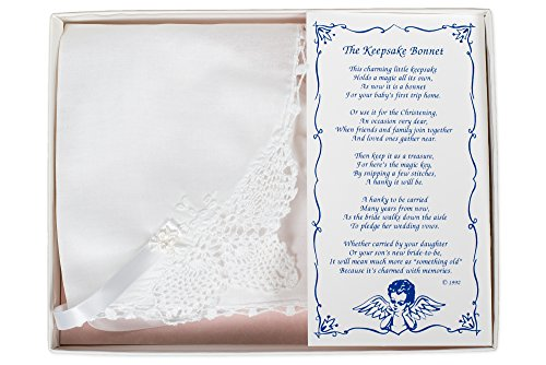 Crocheted Christening Keepsake Bonnet with Embroidered Detail in Gift Box