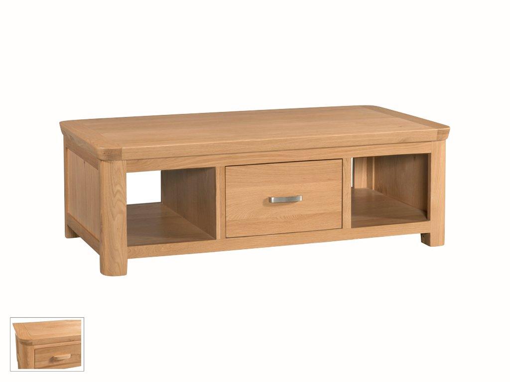 Wate massiv Eiche natur groß Aufbewahrung Kaffee Tisch mit 2Einlegeböden und 1Tiefe drawer- Finish: Eiche hell–Wohnzimmer Möbel