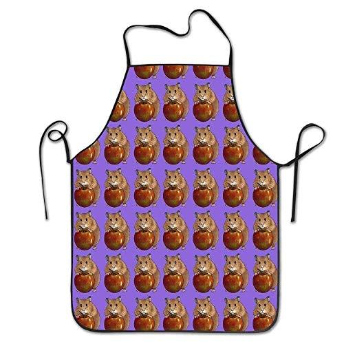 Wieke art Hamster Love Apple Durable Washable Adjustable Kitchen Overlock Apron Mother Gift Cooking Baking Restaurant Unisex -