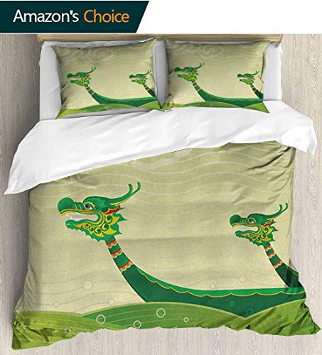 Dragon Duvet Cover Cotton Sateen,Box Stitched,Soft,Breathable,Hypoallergenic,Fade Resistant Bedding Set For Teen 3Pcs(87