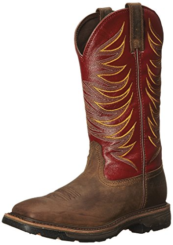 Ariat Mens Workhog Wide Square Toe Tall II Soft Toe Distressed Boot Distressed Brown/Ruby Red