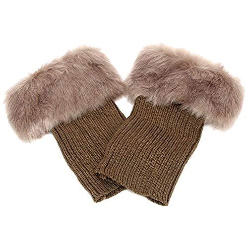 Abberrki Women Winter Faux Fur Boot Cuff Crochet Knit Boots Socks Short Leg Warmers (Khaki)]()