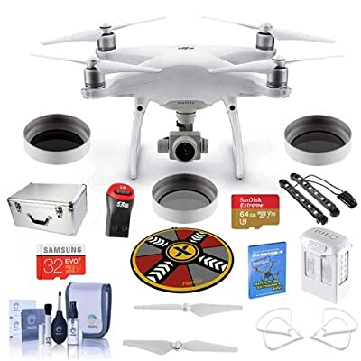DJI Phantom 4 Advanced Premium Kit - Bundle with DJI Aluminum Case, 64/32GB MicroSDXC Card, Spare Battery, Quick-Release Propellers, Propeller Guard, 32in Collapsible Pad, Polar LED Light Bars, More
