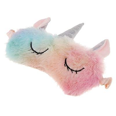 B Blesiya Máscara de Ojos Antifaz de Domir Patrón de Unicornio de Dibujos Animados de Peluche Color Rainbow Accesorios de Disfraces Cosplay: Juguetes y juegos