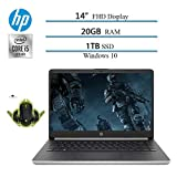 Newest 2020 HP 14' Premium FHD IPS Laptop Notebook Computer, 10th Gen i5-1035G4 (up to 3.7GHz), 20GB RAM, 1TB SSD, HDMI, WiFi, Bluetooth, Windows 10 W/ Ghost Manta Gaming Mouse