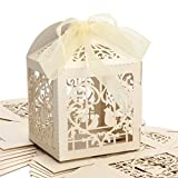 PONATIA 25Pcs/Lot 4 x 4 inches inches Laser Cut Pearl Paper Party Wedding Favor Ribbon Candy Boxes Large Size Gift Box for Cupcake (Beige Birds)