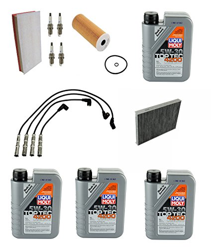 Tune up Kit Air Oil Cabin Filter Spark Plugs Wires Volkswagen Golf Jetta Beetle by Mann / Denso / Original Performance / Micronair / Liqui Moly