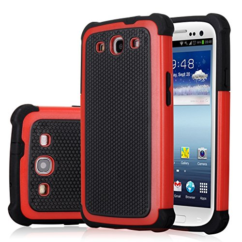 Galaxy S3 Case, Jeylly(TM) [Shock Proof] Scratch Absorbing Hybrid Rubber Plastic Impact Defender Rugged Slim Hard Case Cover Shell Samsung Galaxy S3 S III I9300 GS3 All Carriers