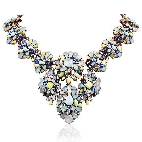 Jane Stone Elegant Colorful Bubble Bib Flower Cluster Chunky Statement Necklace Exquisite Fashion Crystal Floral Jewelry for Party(Fn0470)