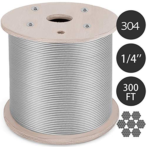 Mophorn 304 Stainless Steel Cable 0.25 Inch 7 X 19 Steel Wire Rope 300Feet Steel Cable for Railing Decking DIY Balustrade(0.25 Inch-300Feet) ()