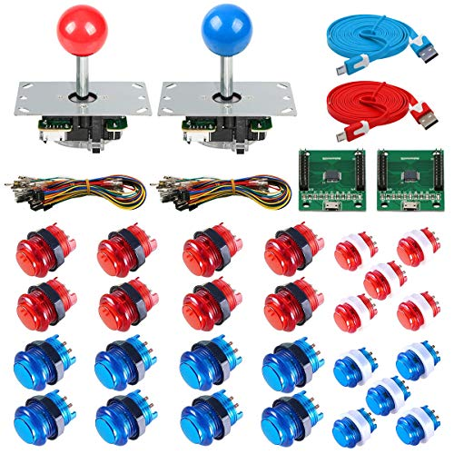 Gamelec 2-Player Arcade Game Buttons and Joysctick Kit with 5 Modes Buttons Lighting for Windows System, Raspberry Pi…