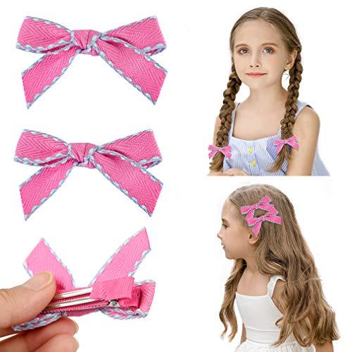 DEEKA 2 Pack Hair Clip Hair Bows Fringe Clip for Little Girls - Bright Pink from DEEKA
