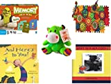 Children's Gift Bundle - Ages 3-5 [5 Piece] - Shrek Forever After Memory Game - Play Sprockets Toy - Plush Appeal Bright Green Hippo Plush 6
