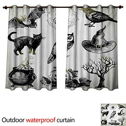 WilliamsDecor Vintage Halloween Home Patio Outdoor Curtain Halloween Related Pictures Drawn by Hand Raven Owl Spider Black Cat W72 x L63(183cm x 160cm)]()