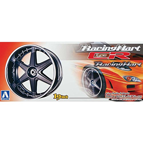 Download Racing Heart TypeCR (gunmetal) 1/24 Scale S-Parts Tire and Wheel Set No.130