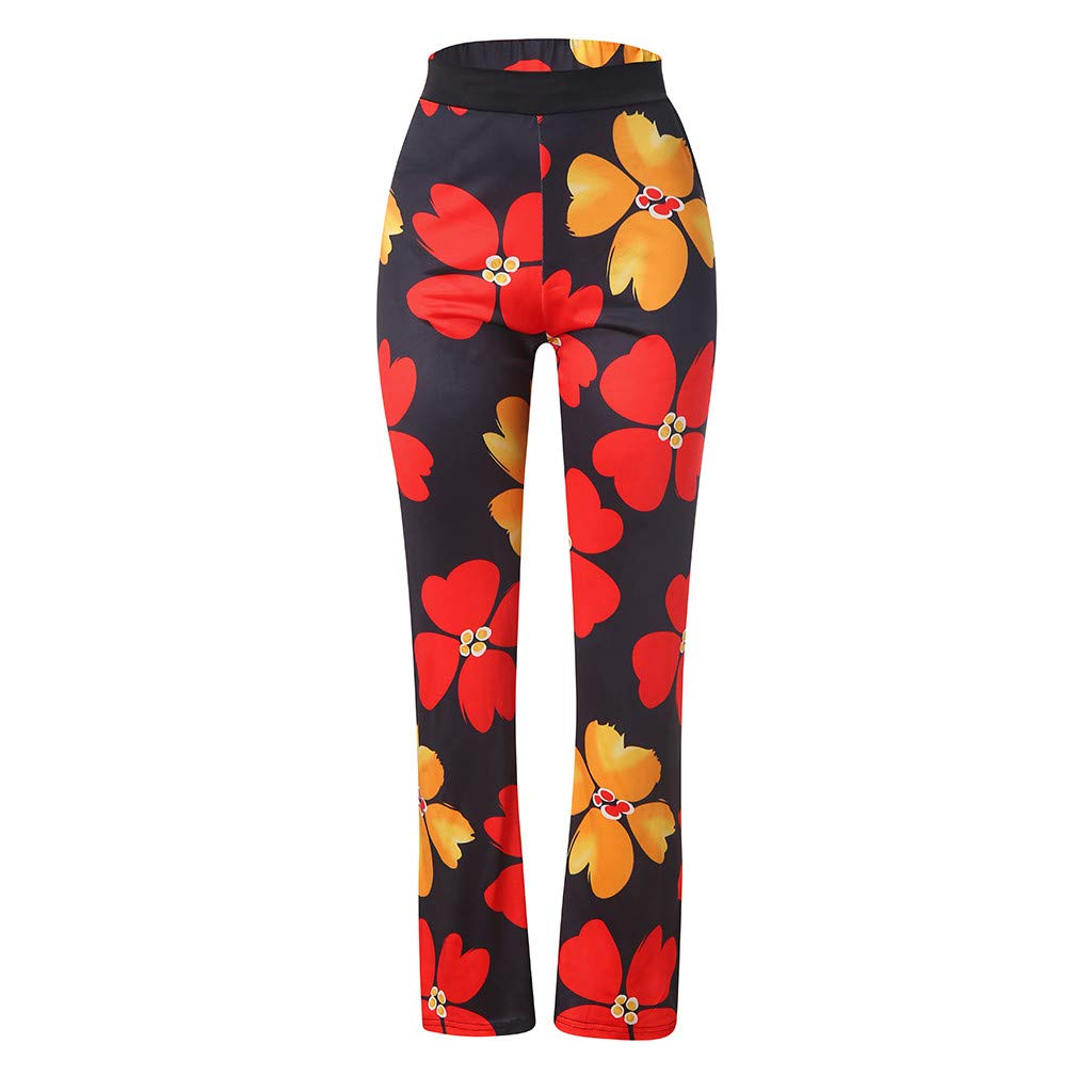 Pervobs Women Summer Casual Boho Floral Printing High Waist Wide Leg Pants Holiday Daily Loose Super Comfy Trouser(L, Black) by Pervobs Women Pants (Image #8)
