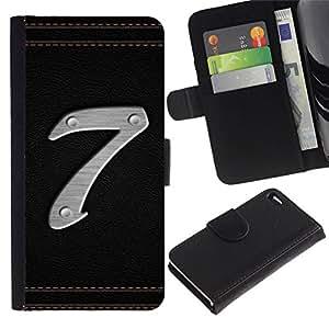 All Phone Most Case / Oferta Especial Cáscara Funda de cuero Monedero Cubierta de proteccion Caso / Wallet Case for Apple Iphone 4 / 4S // Number 7