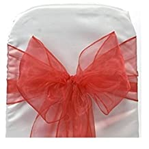 Pack of 100 Romantic Organza Chair Sashes Bow Sash For Wedding and Events Supplies Party Decoration Chair Cover Sashes (Red)