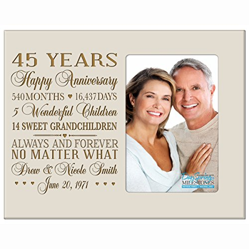 Personalized forty-fifth year anniversary gift for her him couple Custom Engraved wedding gift for husband wife girlfriend boyfriend photo frame holds 4x6 photo by DaySpring International (Ivory)