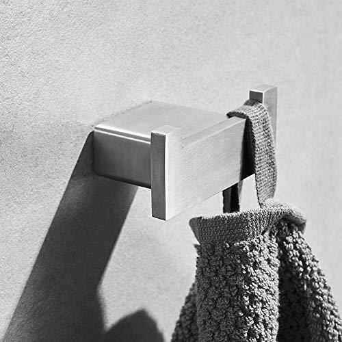 (Heable Robe Hook Brushed Nickel, Bathroom Hardware Stainless Steel Robe Coat Hook Wall Mounted)
