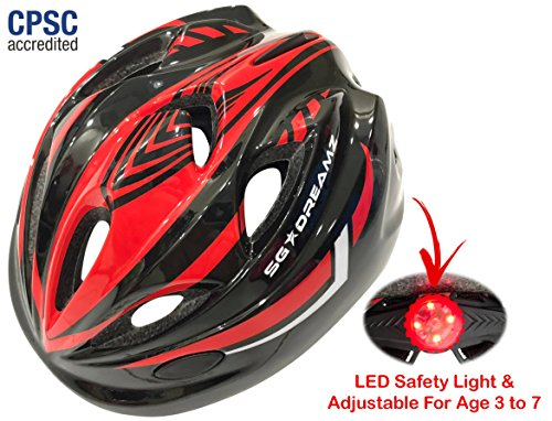 Kids Bike Helmet – Adjustable from Toddler to Youth Size, Ages 3 To 7 – Durable Kid Bicycle Helmets with Fun Racing Design Boys and Girls will LOVE – CSPC Certified for Safety (Black Red With Light)