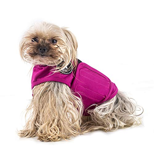@HE Dog Anxiety Relief Coat Comfort Keep Clam Wrap Vest for XS Small Medium Large XL Dogs,Navy Blue Gray Rose-Red Camouflage (XS, Rose-Red)