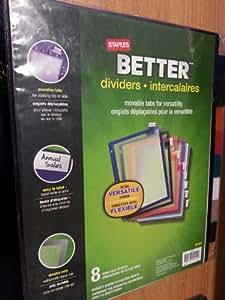staples better tab dividers intercalaires 8 letter. Black Bedroom Furniture Sets. Home Design Ideas