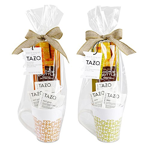 Tazo Garden Tea Mug | Ceramic Mug, Cookie Brittle, & 3 Tazo Morning Teas