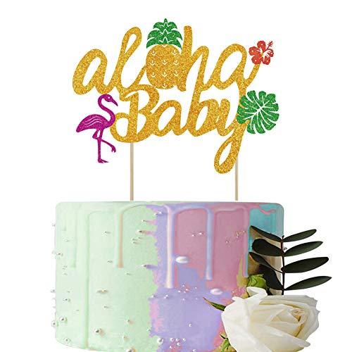 BUSOHA Aloha Baby Cake Topper - Glitter Pineapple Flamingo Baby Cake Picks for Hawaiian Tropical Beach Pool Laua Themed Baby Showers Boys Girls Birthday Party Cake Decoration Supplies -