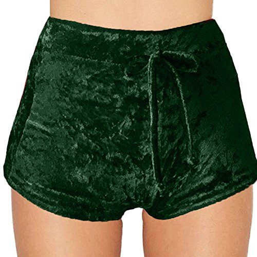 Fedi Apparel Velvet Soft Stretchy Shorts Clubwear High Waist Drawstring Hot Pant (Hot Club Wear)
