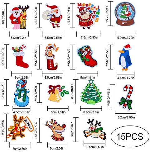 15 Pcs Embroidered Appliques,Christmas Santa Claus Snowman Embroidered Patches Iron-on Patch Motif Appliques Decorative Repair Patches for Xmas Festival Party Cloth Hat DIY Decor