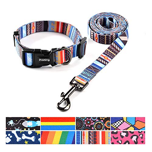 (Ihoming Pet Collar Leash Set Combo Safety Set for Daily Outdoor Walking Running Training Small Medium Large Dogs Cats)