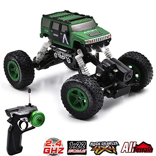 Vanzer RC Off Road Toy Car Jeep Gifts, Mini Military Truck, 4WD High-Speed Racing Vehicle,All Terrain Climbing, Hobby RC Crawlers, Xmas Present for Boys Girls Kids