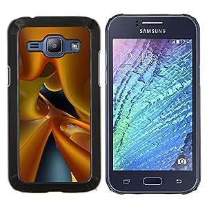 TECHCASE---Cubierta de la caja de protección para la piel dura ** Samsung Galaxy J1 J100 ** --amarillo vidrio dinámica de fluidos 3d arte